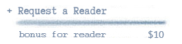 Request a reader via their initials